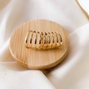 Piercing de encaixe fileiras lisas desiguais banho em ouro 18k