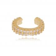 Piercing de encaixe Luana filete duplo cravejado banhado a ouro18k