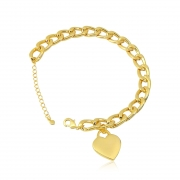 Pulseira elos banhada em ouro 18k com pingente coração chapado liso