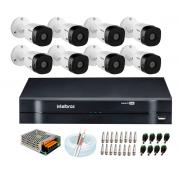 Kit Intelbras 08 Cameras HD 720p VHL 1120 Bullet + Dvr 1108 Intelbras + Acessórios
