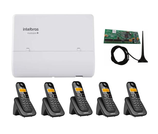 Kit Central Pabx Modulare+ 02Linhas + 04Ramais C/05 Aparelhos S/Fio Ts3111+ 1.PLACA DECT