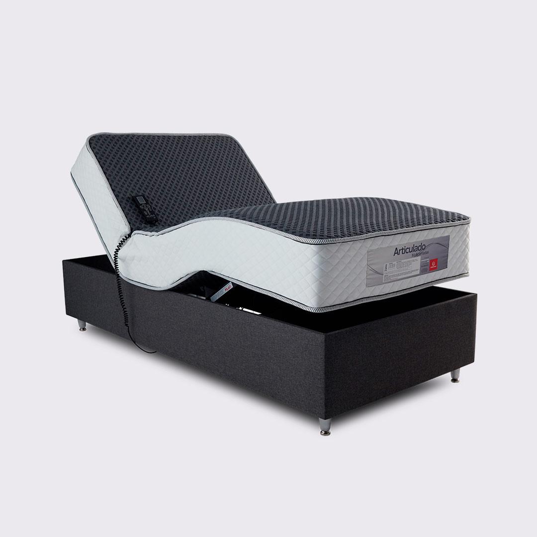 Cama Articulada com Colchão de Molas e Infravermelho Longo, Massagem Bioquântica e Magnetoterapia Personalizável Cia Do Sono