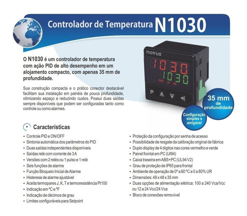 Controlador De Temperatura Novus N1030-pr J/k/pt100 Com Pid
