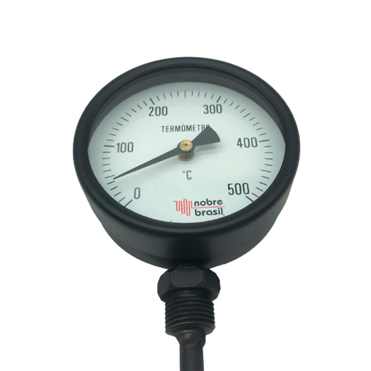 """Termometro Reto 4"""", H. 3/8""""X200mm, R. 1/2"""", Escala 0-500º"""