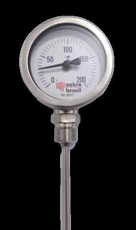 "Termometro Reto Total Inox Visor 2.1/2"" Escala 0 a 200°c H.6X200mm R. 1/2"" Bsp"