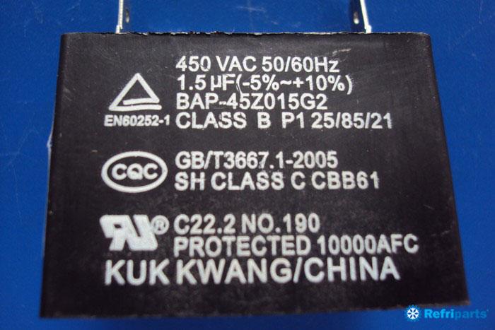 Capacitor 1,5 Mf 450vac