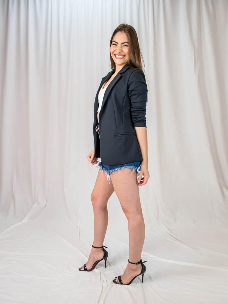 Blazer Malha Preto  - Carmelina.com.br