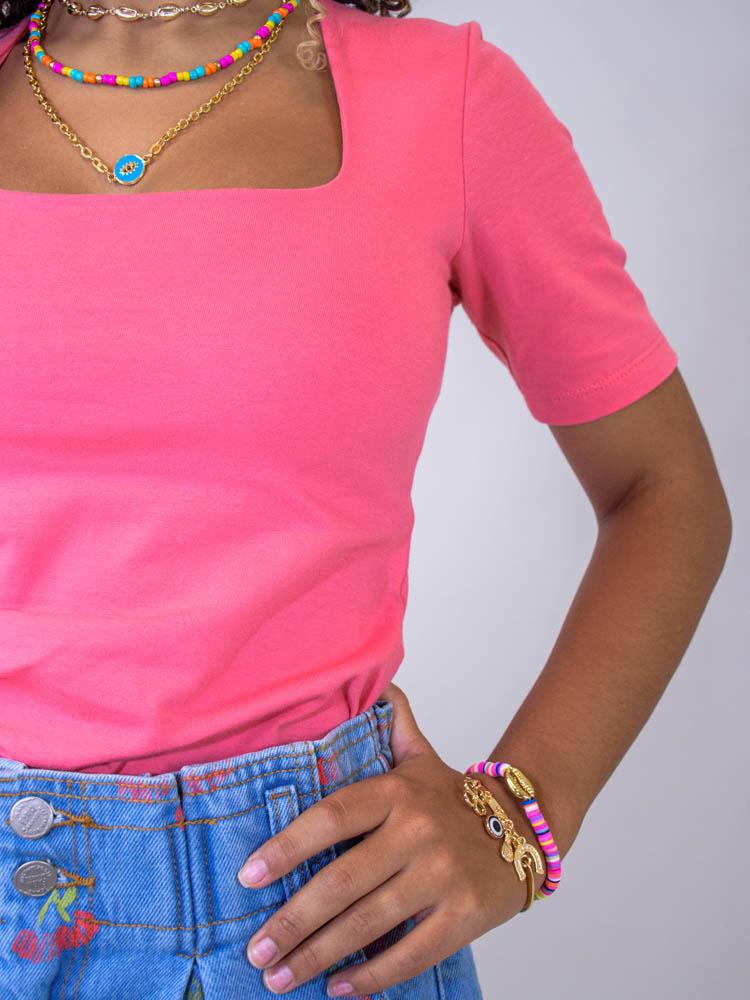 Blusa Decote Quadrado Rosê