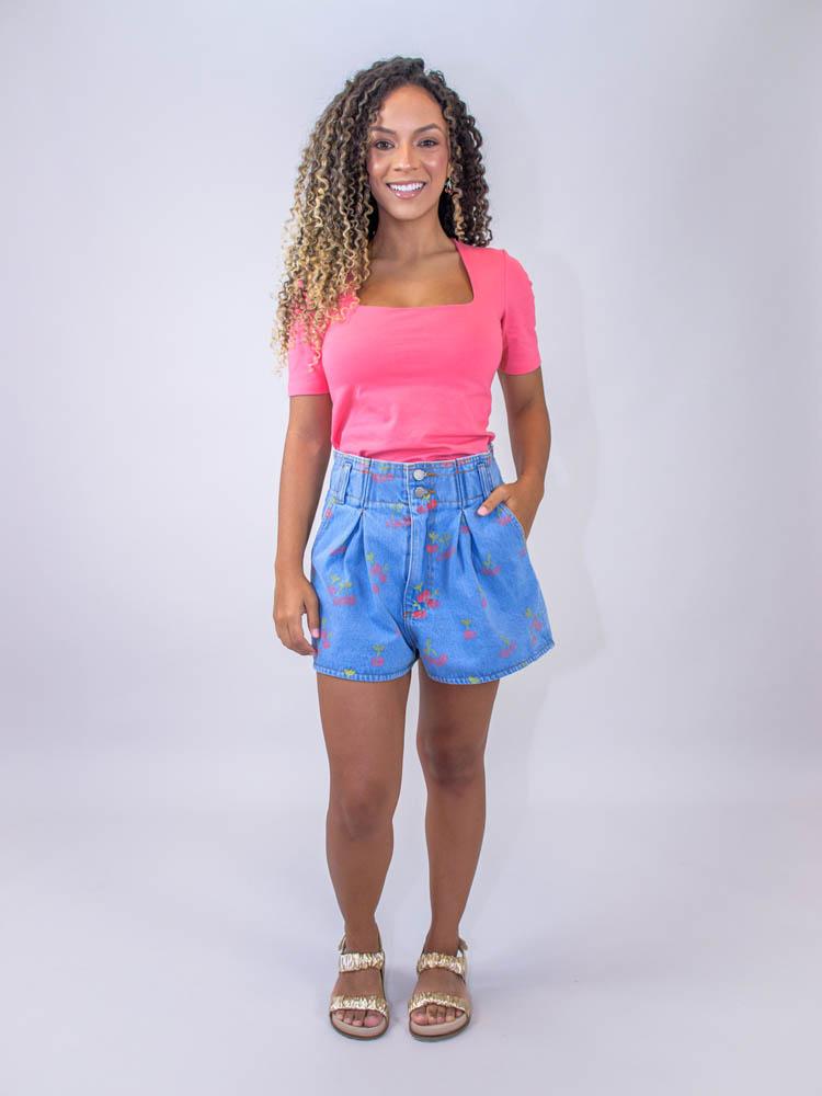 Blusa Decote Quadrado Rosê  - Carmelina.com.br