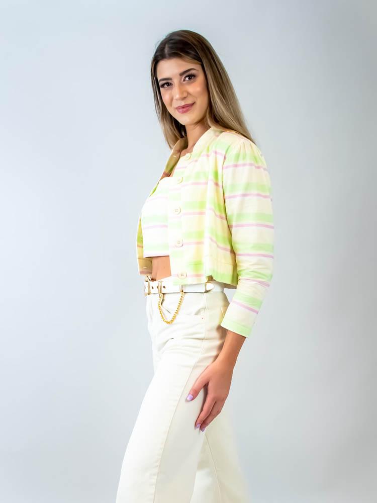 Blusa Listra Color Lima  - Carmelina.com.br