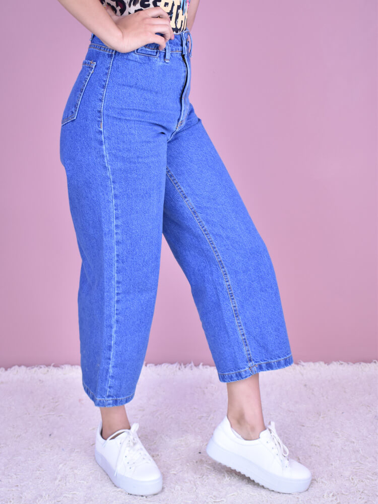 Calça Ampla Pantacourt Jeans