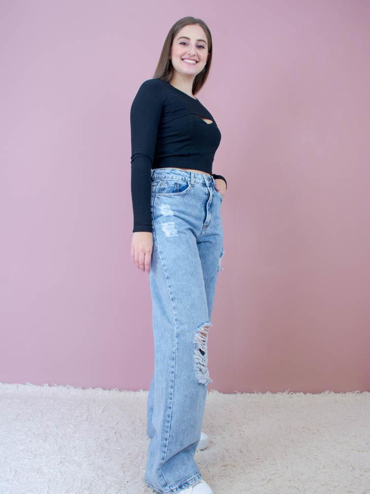 Calça Jeans Wide Leg  - Carmelina.com.br