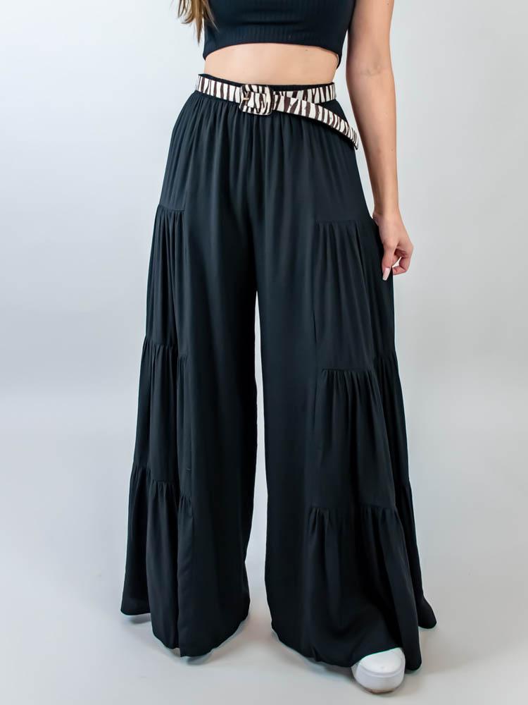 Calça Pantalona Camadas Preto