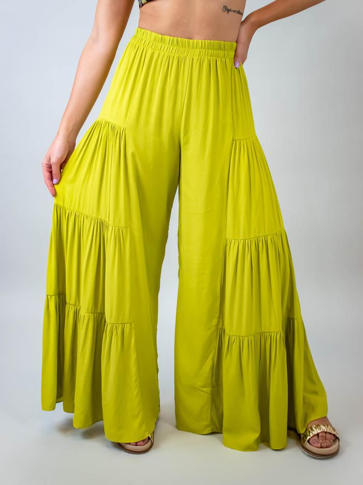 Calça Pantalona Camadas Verde  - Carmelina.com.br