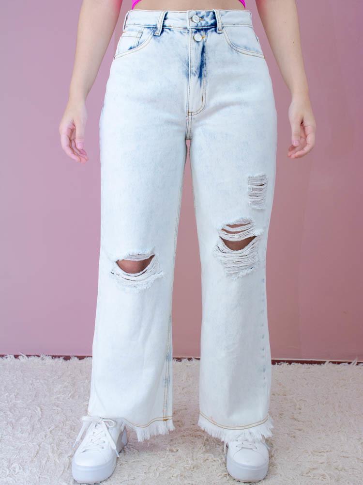 Calça Pantalona Destroyed