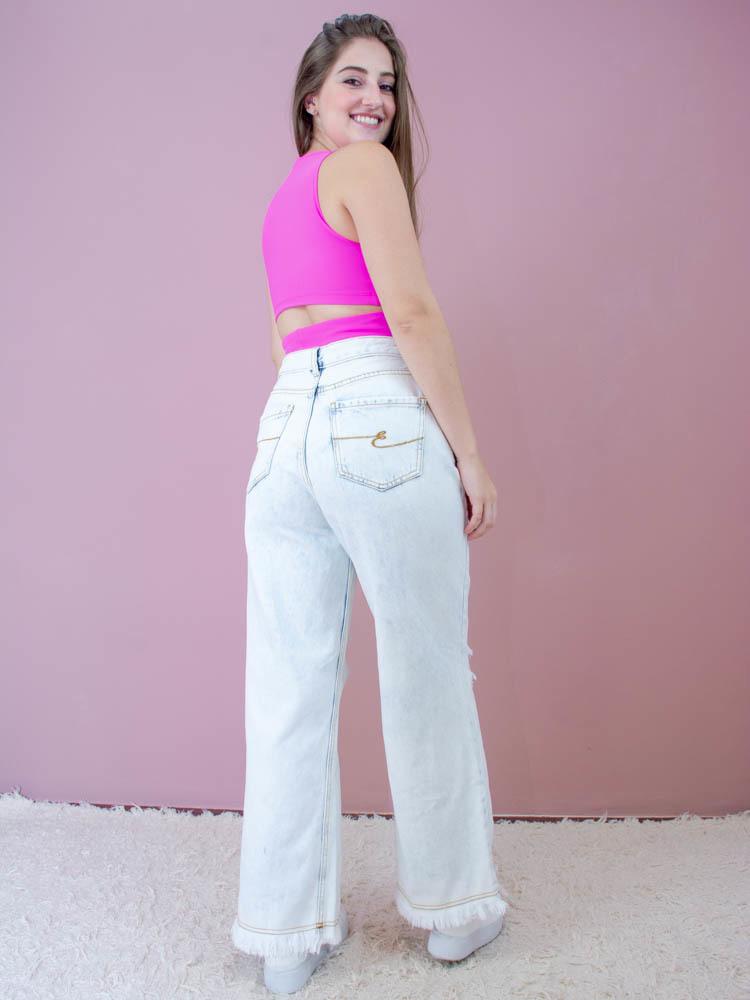 Calça Pantalona Destroyed  - Carmelina.com.br