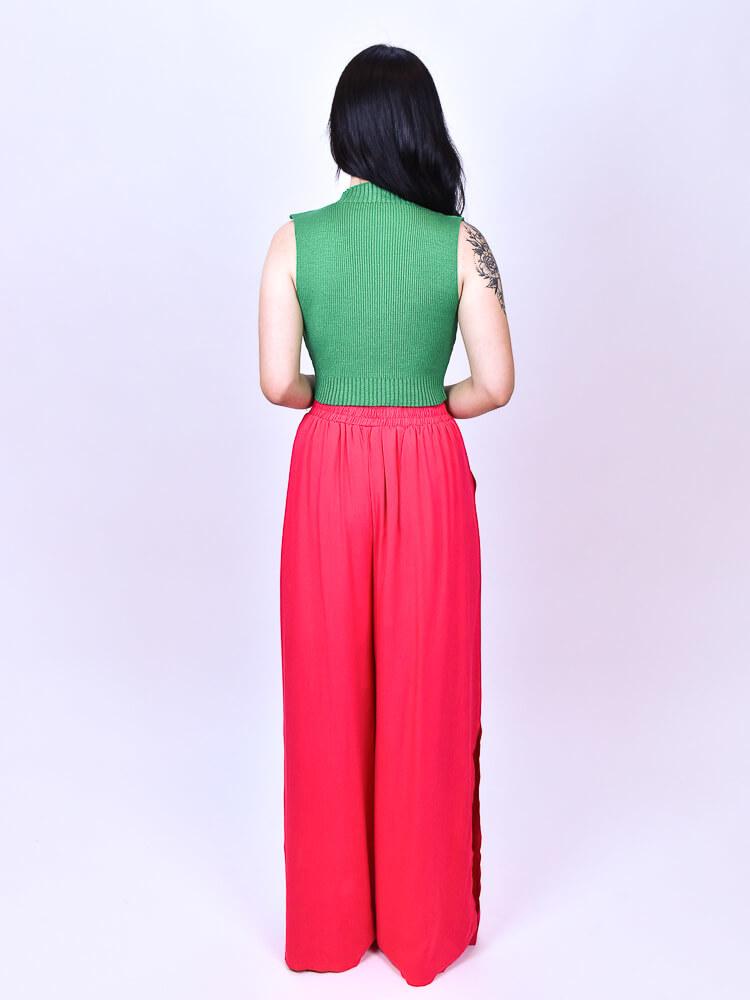 Calça Pantalona Fenda Pink  - Carmelina.com.br