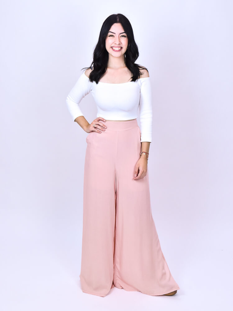 Calça Pantalona Fenda Rosê