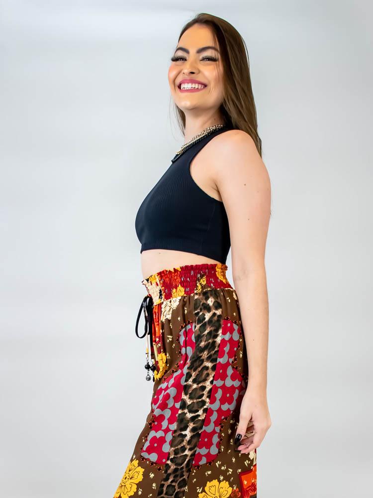 Calça Pantalona Helena Boho  - Carmelina.com.br
