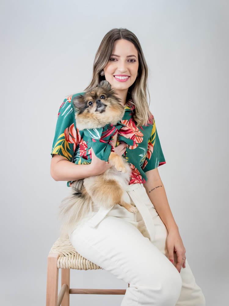 Camisa Pet Folhagem Verde