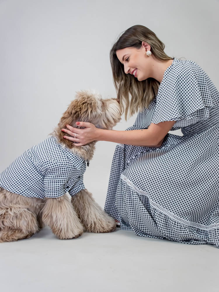 Camisa Pet Vichy Branco e Preto  - Carmelina.com.br