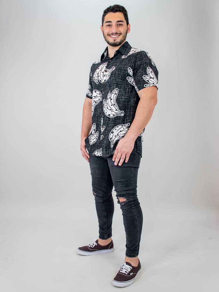 Camisa Sasha Banana Preto  - Carmelina.com.br