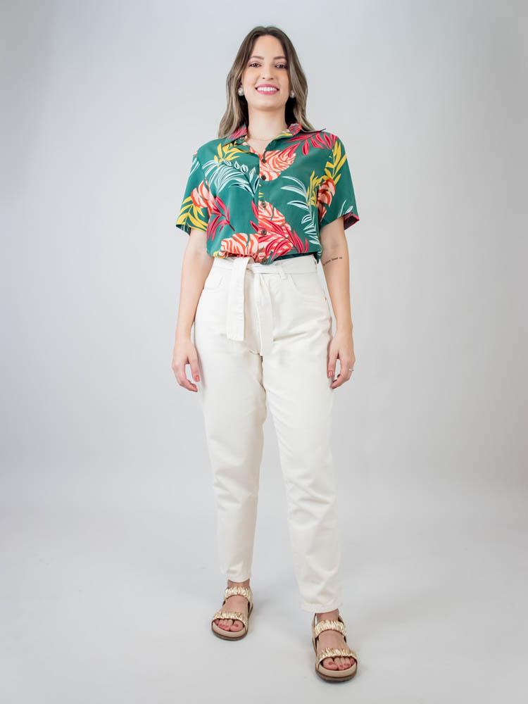 Camisa Sasha Folhagem Verde  - Carmelina.com.br