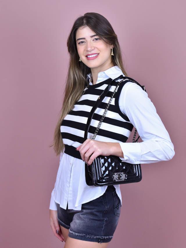 Camisa Tricoline Branco  - Carmelina.com.br