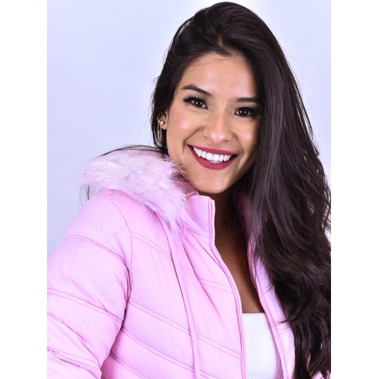 Casaco Puffer Rosa  - Carmelina.com.br