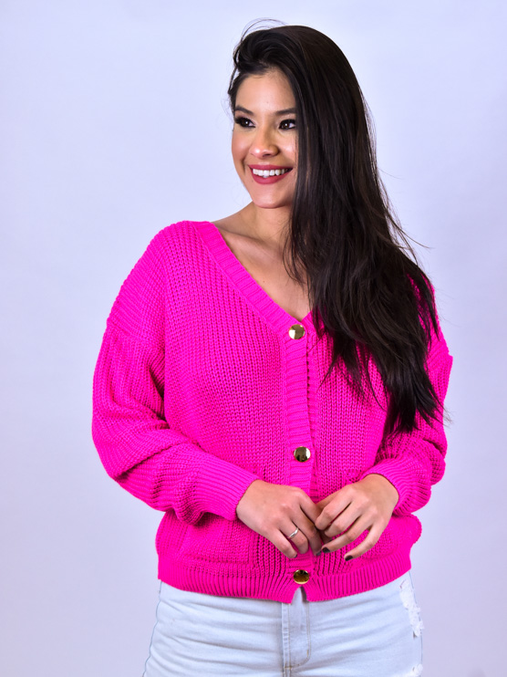 Casaco Tricot Bolso Pink