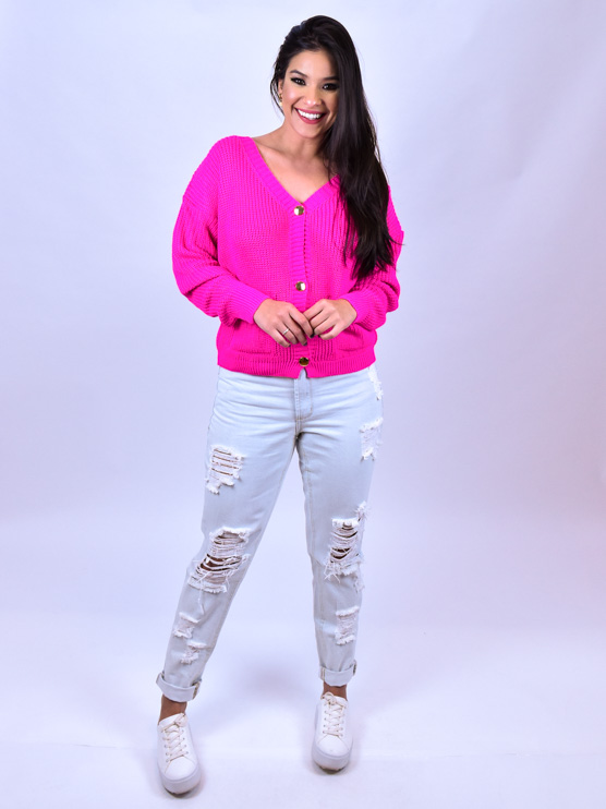 Casaco Tricot Bolso Pink   - Carmelina.com.br