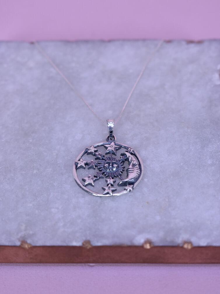 Colar 70cm Sol Estrela  - Carmelina.com.br
