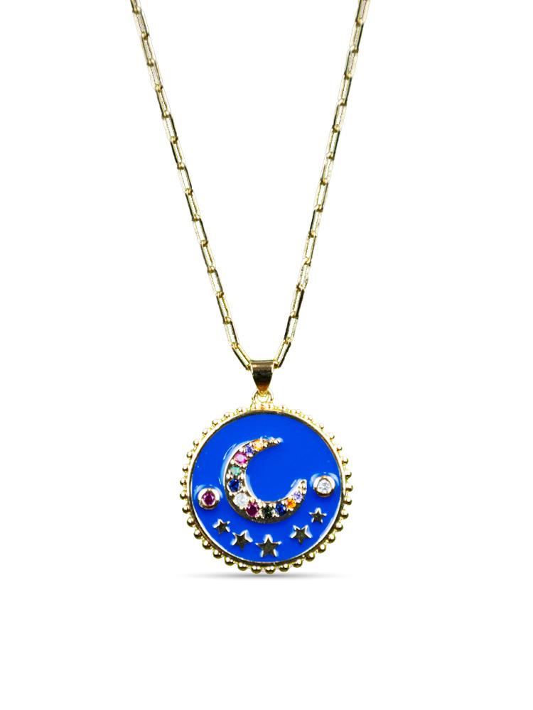 Colar Esmaltado Medalha Lua Azul Royal  - Carmelina.com.br