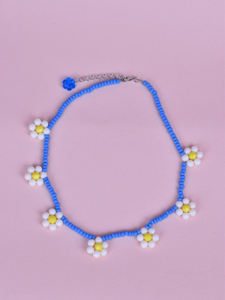 Colar Margarida Grande Azul