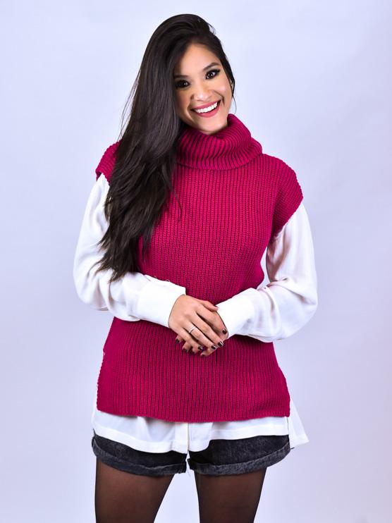Colete Tricot Gola Alta Pink   - Carmelina.com.br