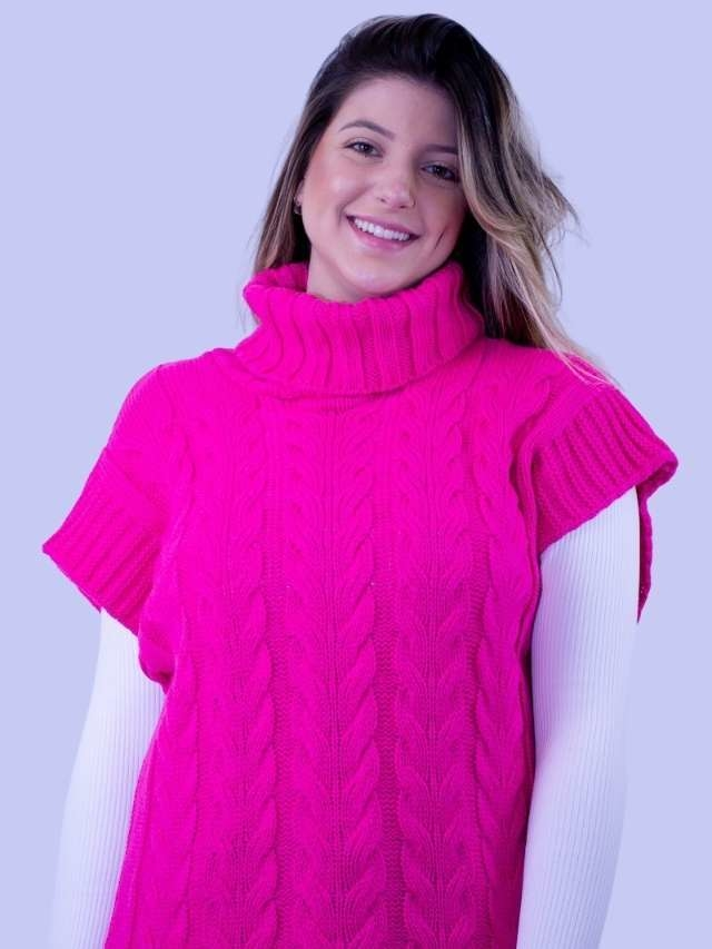 Colete Tricot Gola Pink