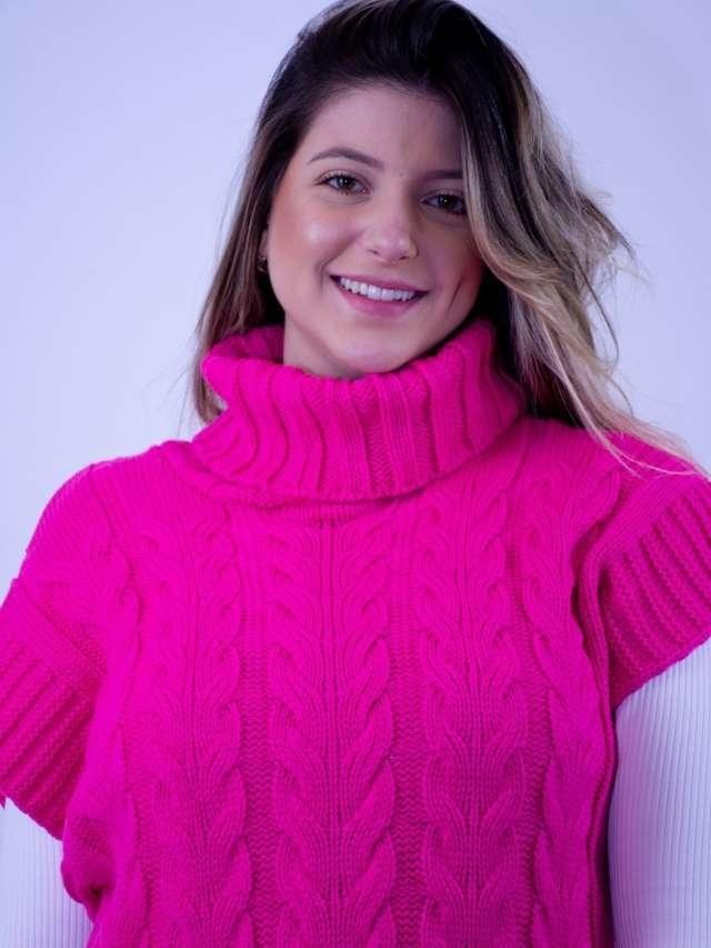 Colete Tricot Gola Pink  - Carmelina.com.br
