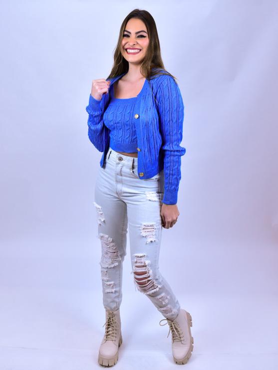 Conjunto Trança Tricot Azul  - Carmelina.com.br