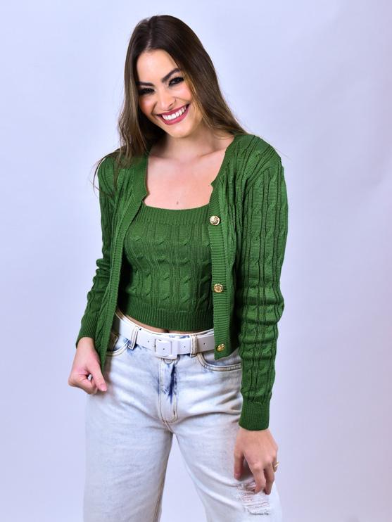 Conjunto Trança Tricot Verde