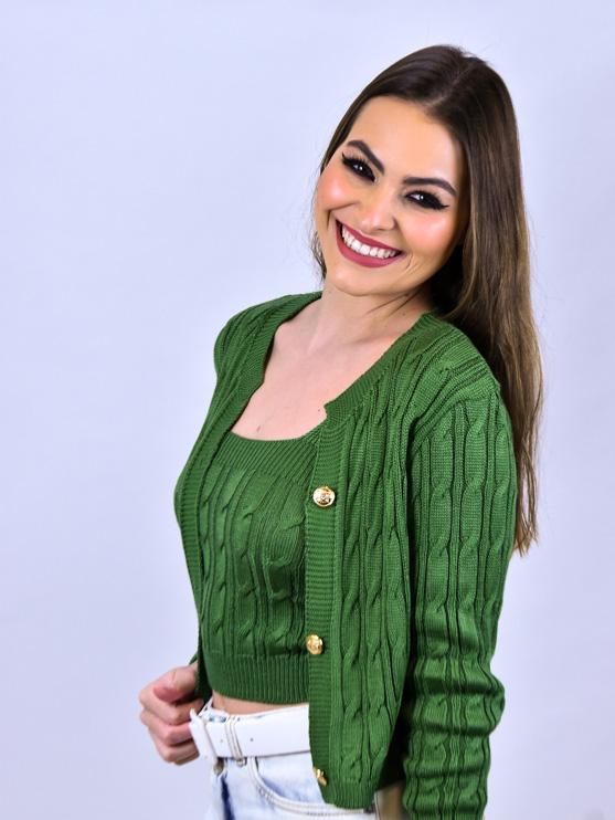 Conjunto Trança Tricot Verde   - Carmelina.com.br