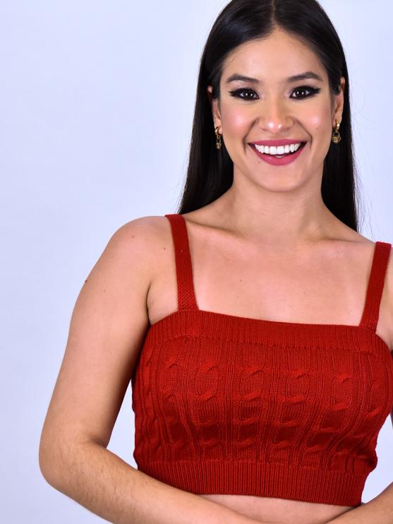 Conjunto Trança Tricot Vermelho   - Carmelina.com.br