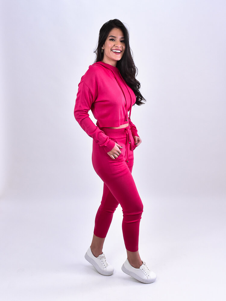 Conjunto Tricot Capuz Pink