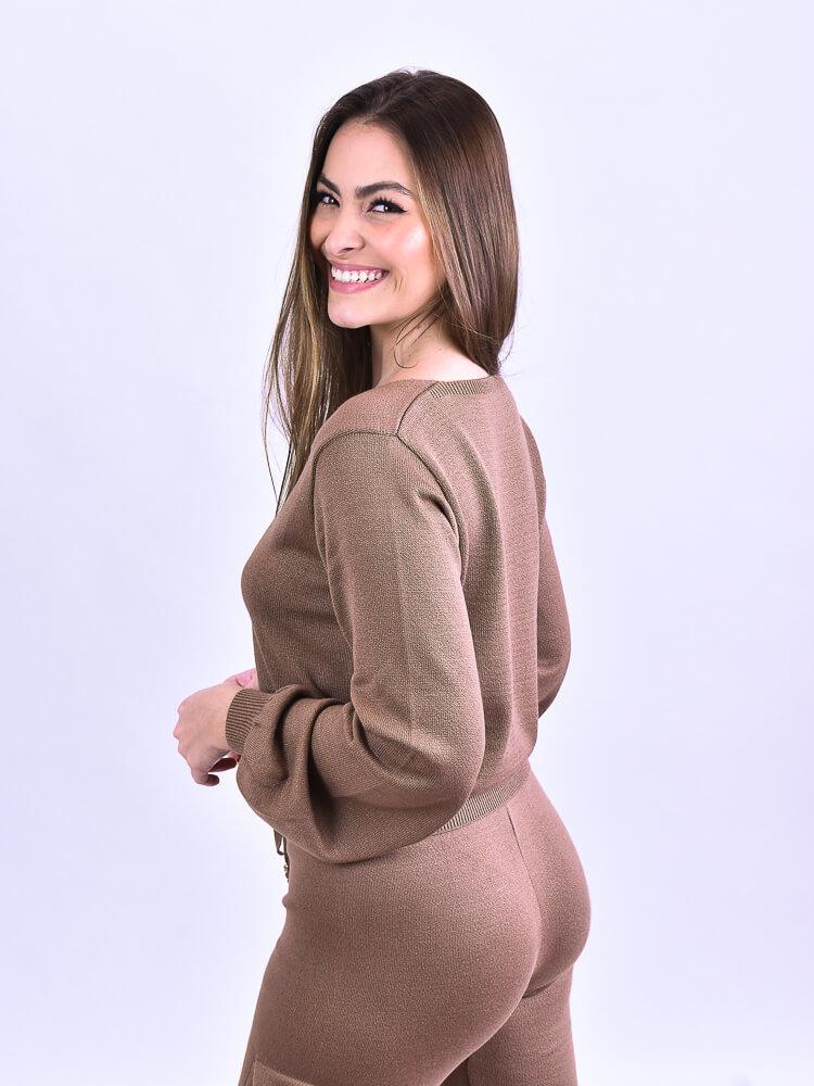 Conjunto Tricot Cinza  - Carmelina.com.br