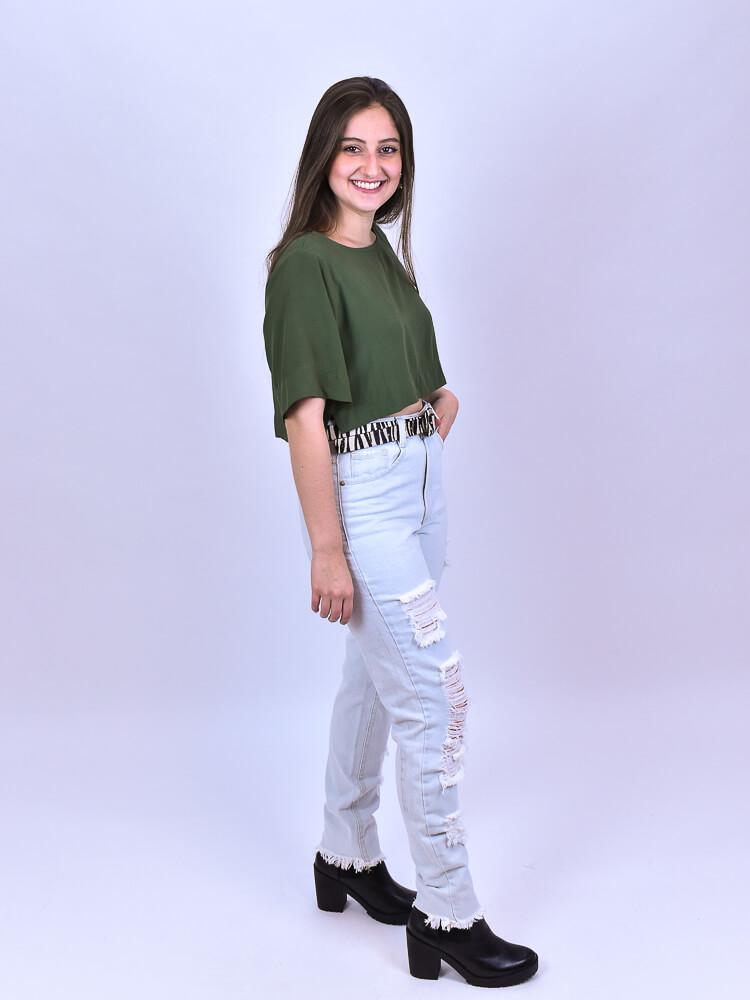 Cropped Jess Militar  - Carmelina.com.br
