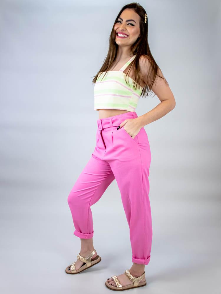 Cropped Listra Color Lima  - Carmelina.com.br