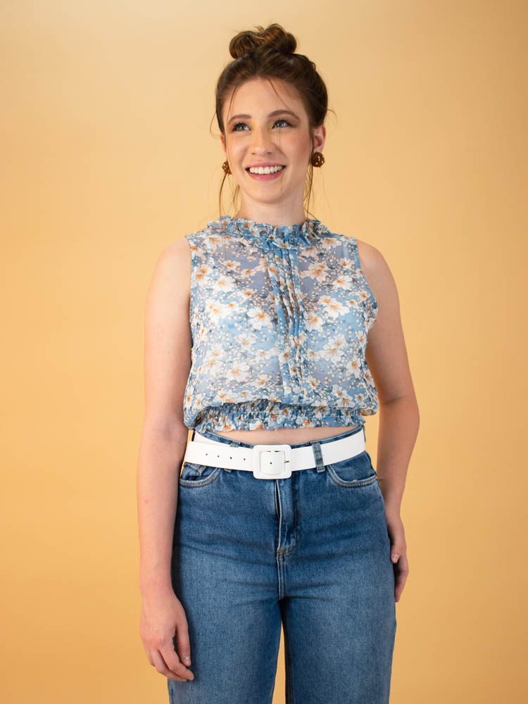 Cropped Tule Floral Azul