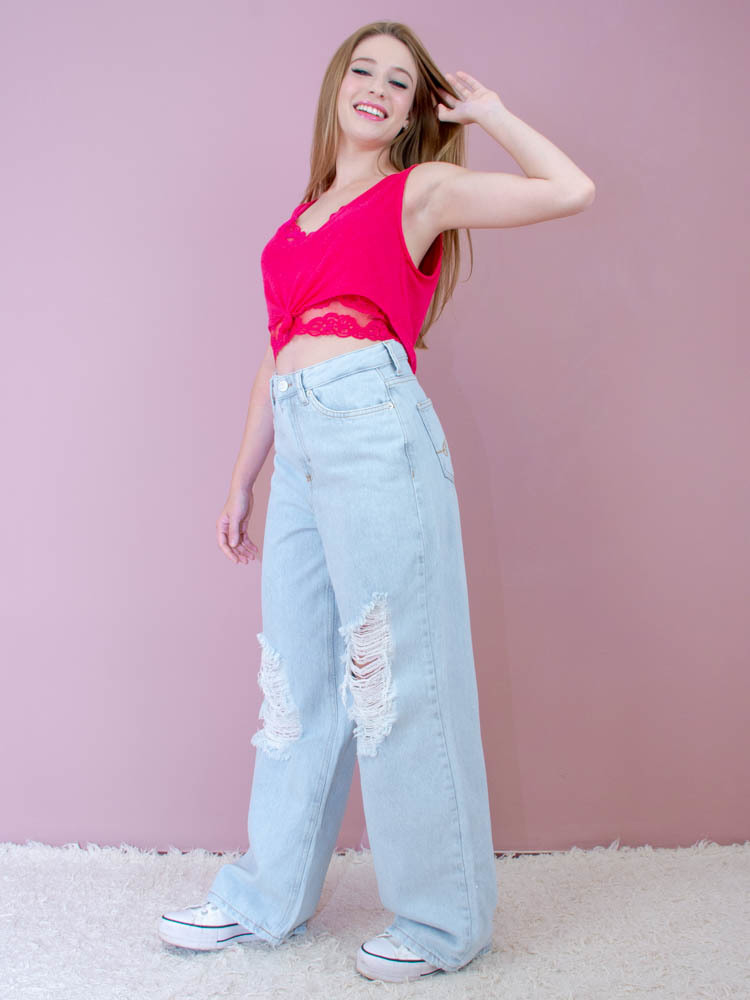 Cropped Viscolinho Renda Pink