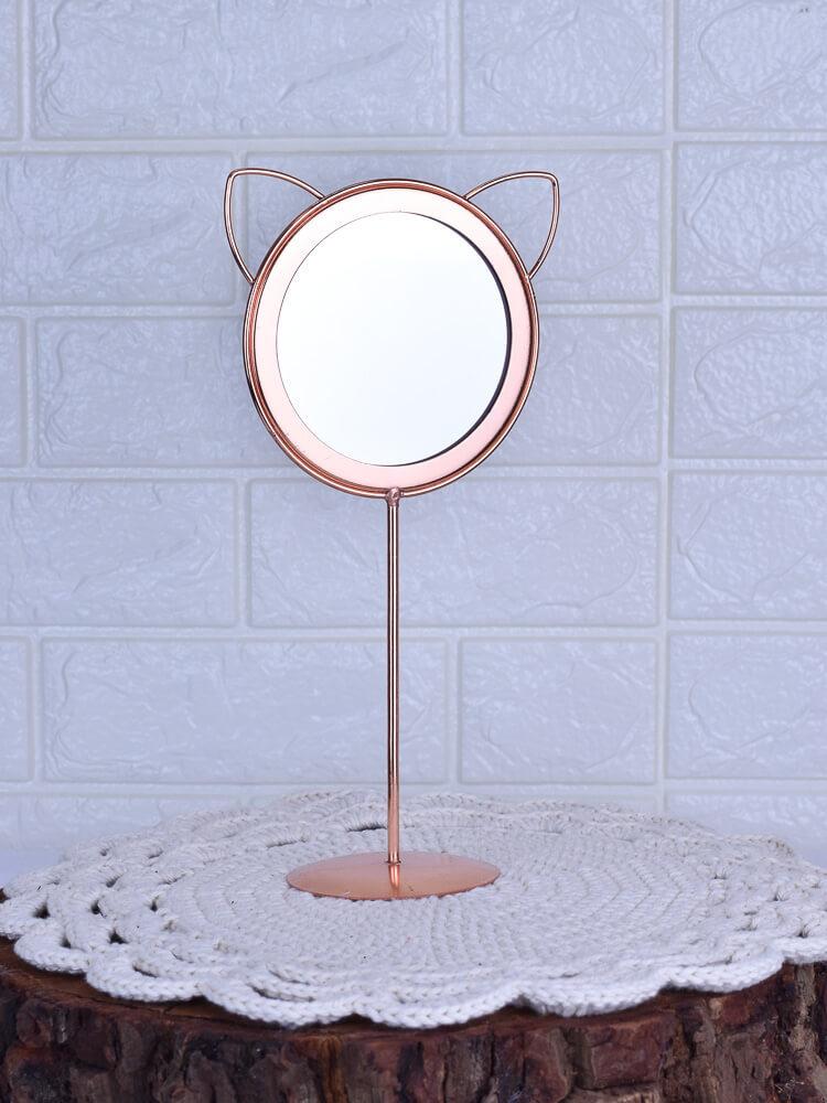 Espelho Mesa Gato Rosê Gold  - Carmelina.com.br