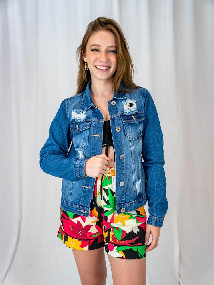 Jaqueta Jeans Claro  - Carmelina.com.br