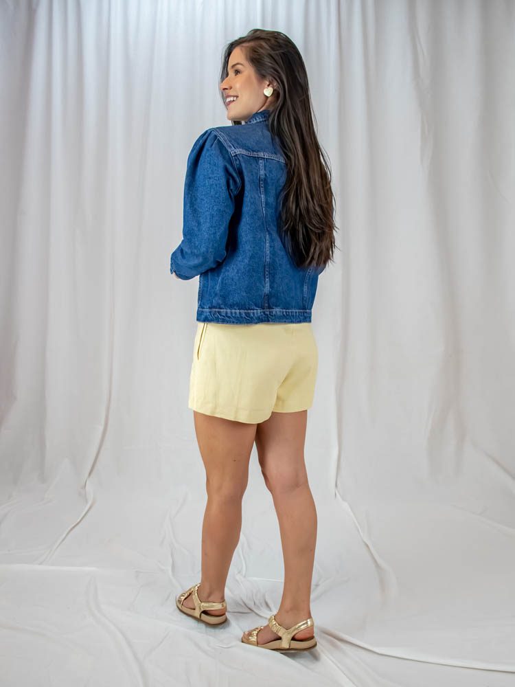Jaqueta Jeans Escura  - Carmelina.com.br
